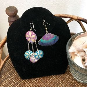 BEACH BOUTIQUE Mermaid Colors Art Dangle Earrings